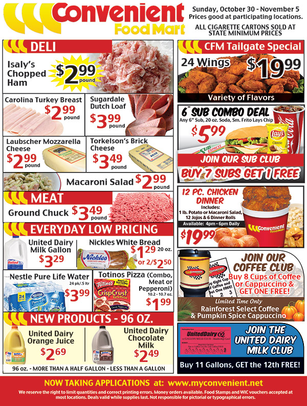 Convenient Ad for Week of October 30