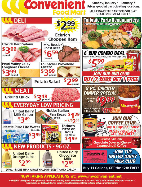 January 1 weekly ad Convenient Food Mart